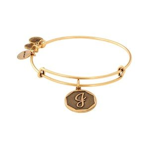 "Alex and Ani ""J"" Initial Bangle Gold One S…"
